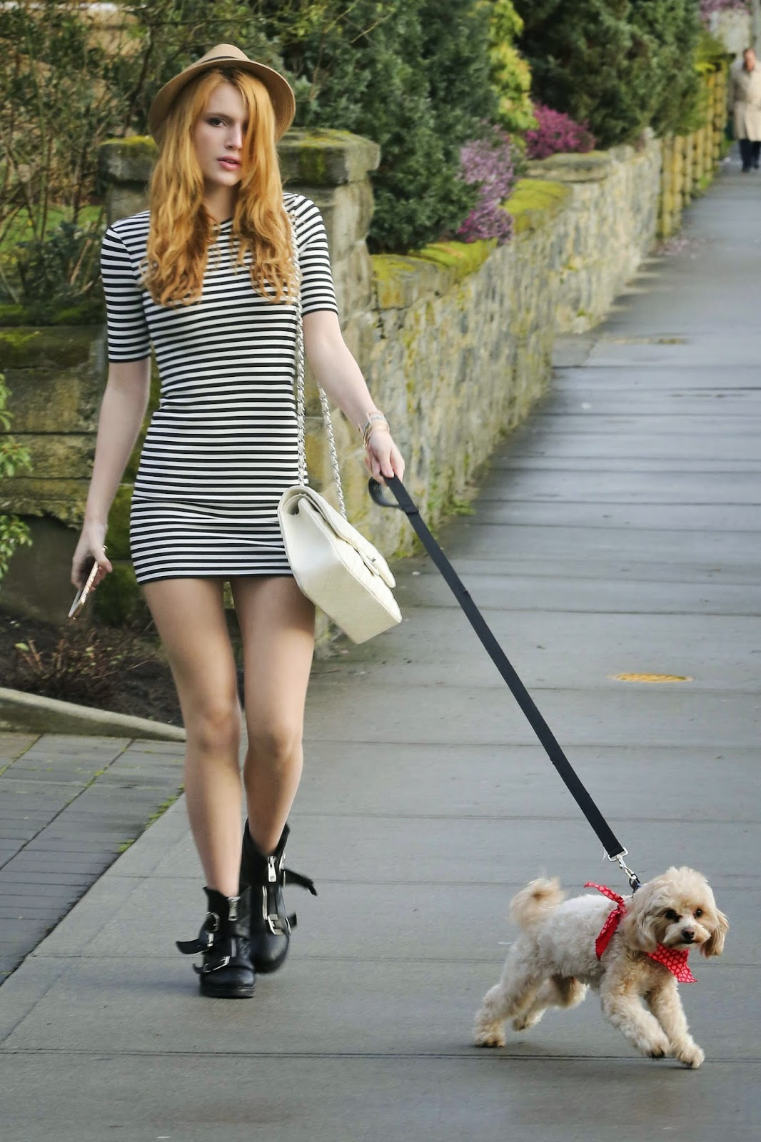 Bella Thorne flaunts long legs while dog walking in LA