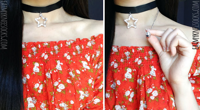 Modeled photos of the grunge/Harajuku-style star pendant leather choker necklace from Born Pretty Store, worn with a boat-neck off-shoulder Forever21 floral top.