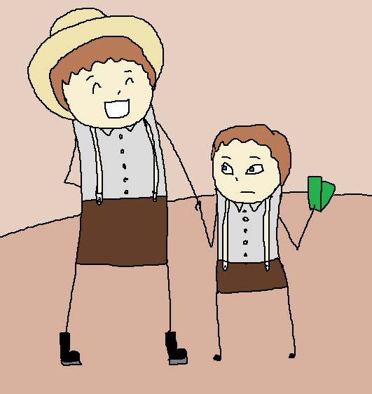Almanzo, holding his father's hand and a wad of money.  His father looks happy and is talking.  Almanzo now looks bored.