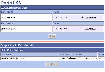 Esempio di configurazione della porta USB Master del modem / router ADSL (ALICE GATE)