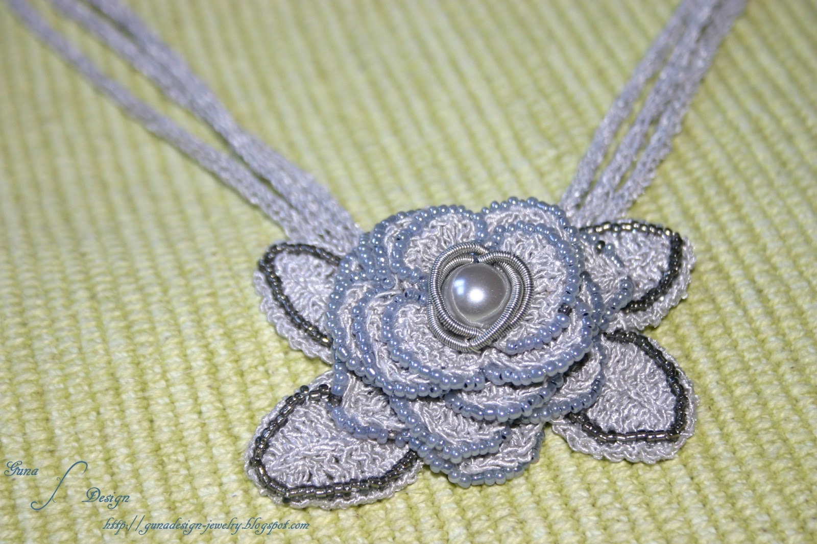Crochet Necklace Bead Coiled Wire Fifty  Shades of Gray made by Gunadesign