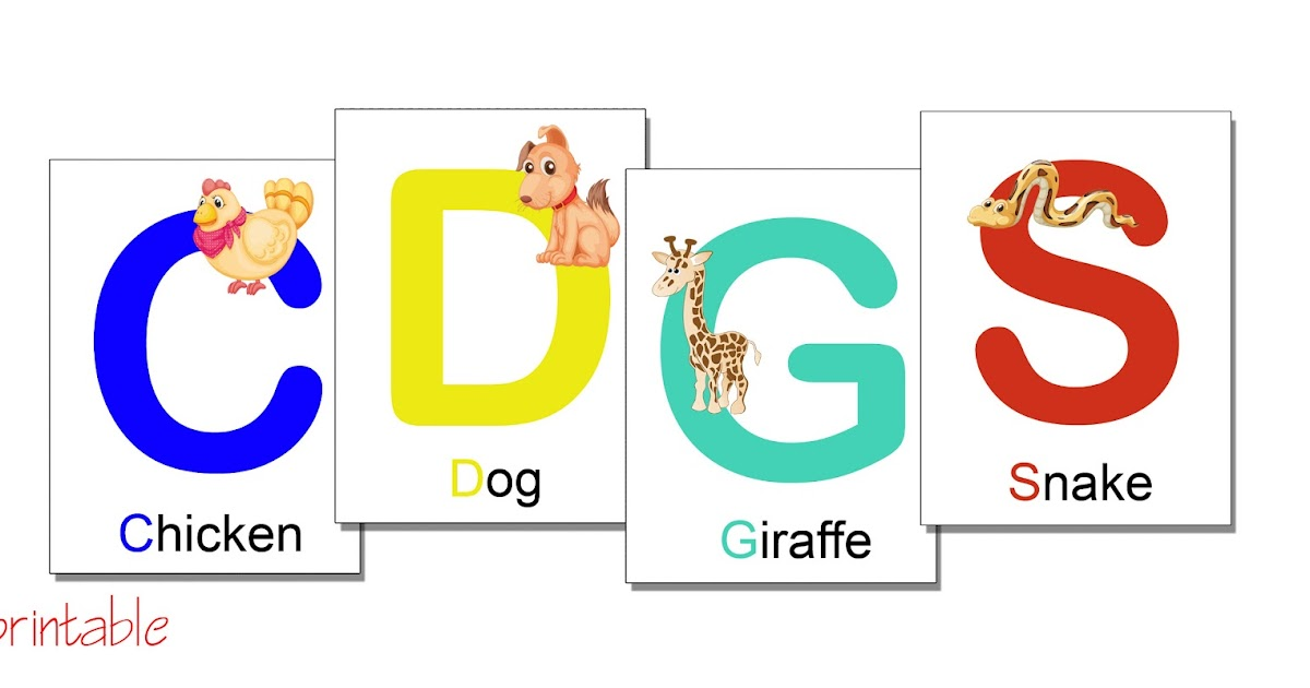 printables  alphabet flash cards with animals