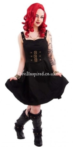 Black Cotton Gothic Steampunk Dress