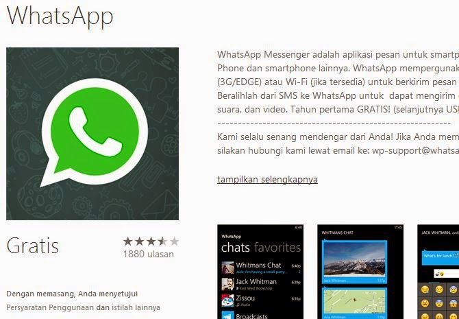 WhatsApp Pada Windows Store