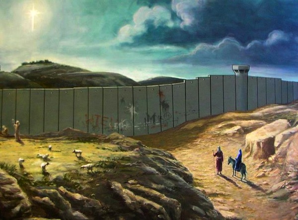 On Banksy's Christmas Card Joseph And Mary Can't Make It To Bethlehem