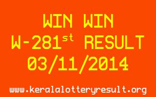 WINWIN Lottery W-281 Result 03-11-2014