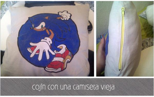 cojín de Sonic con una camiseta vieja