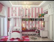Habitaciones de Chicas Lindas dormitorio ninas con franjas blancas rosas
