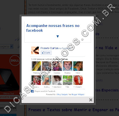 pop up para divulgar facebook no blog