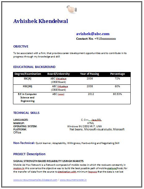 download resume format here - Computer Science Resume Sample