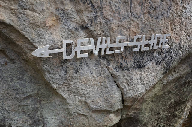 devils slide park sign at robbers cave ok
