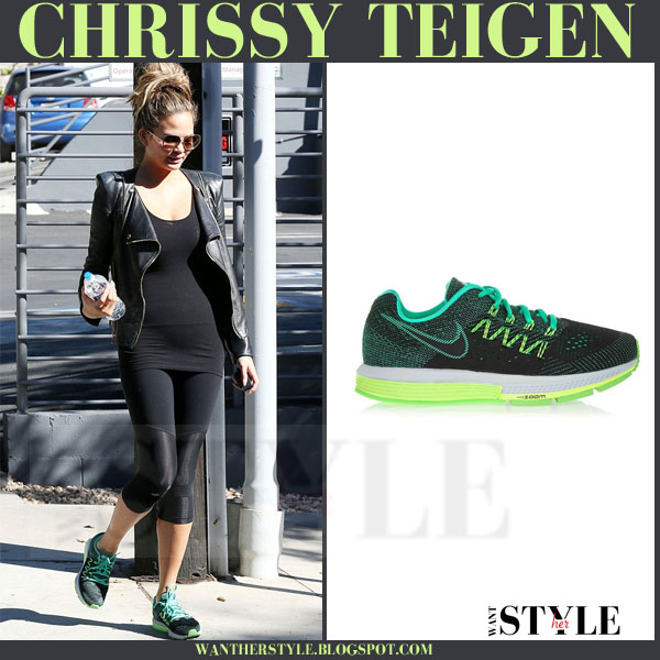 Chrissy Teigen in green Nike Air Zoom Vomero sneakers what she wore workout clothes models