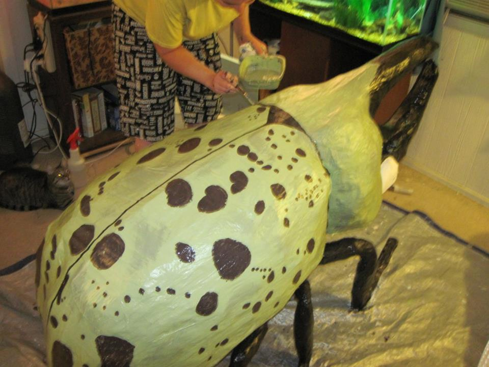 Craft crazies making the giant paper mache hercules beetle for Finishing paper mache