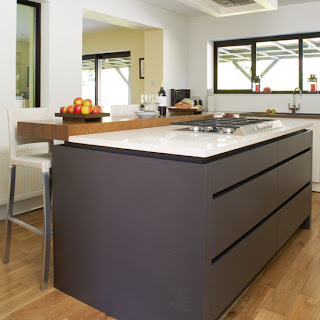 modern kitchen with island and wooden floor