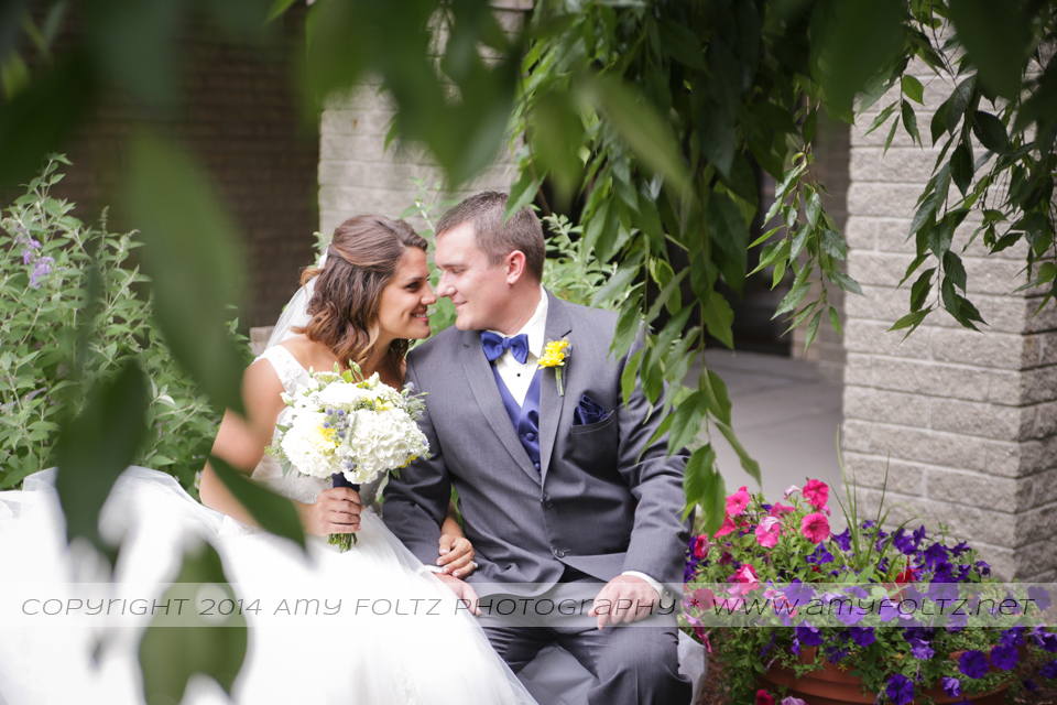 portrait of bride and groom at World Gospel Church in Terre Haute