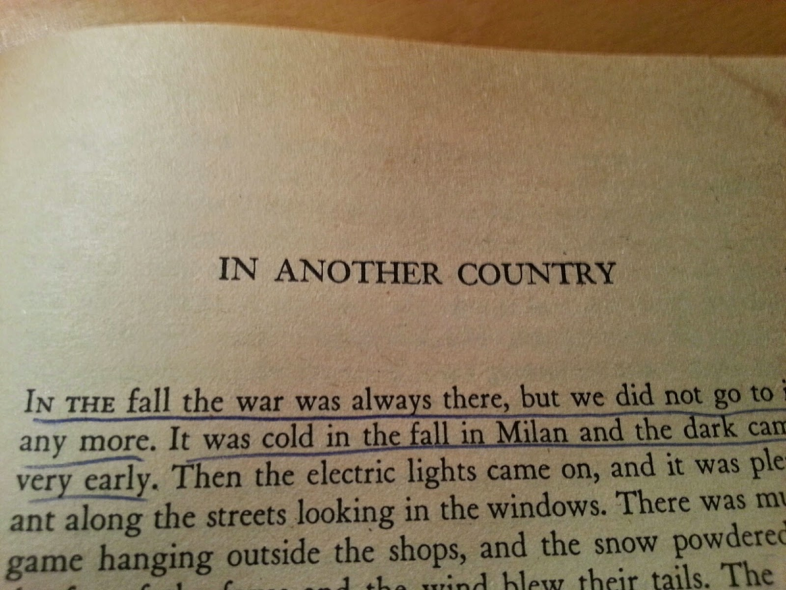 in another country by hemingway Ernest hemingway wrote the short story in another country in the style which some critics named as a detachment-style it means that the author's purpose was to show life as it was, the main character just described what he saw around him.