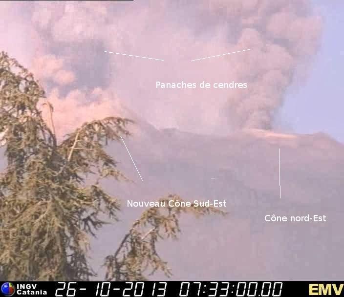 Panache de cendres sur le Cône Nord-Est du volcan Etna, 26 octobre 2013