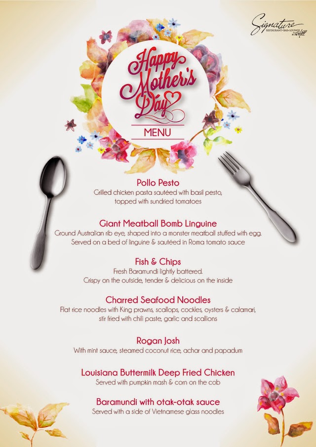 Happy Mother's Day Menu