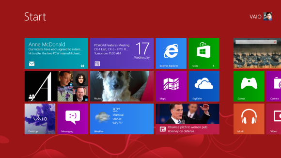 Live Tiles display image slideshows and other dynamic content right on the Start Screen