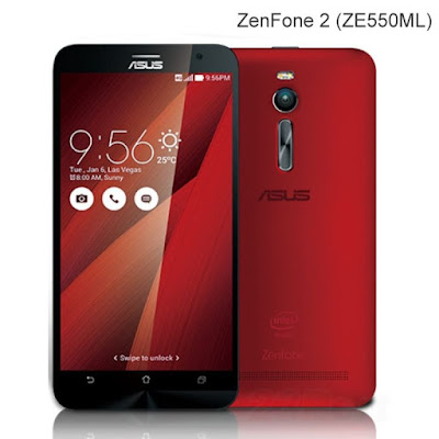 "Spesifikasi Asus Zenfone 2 ZE550ML   Layar 5,5 inch"" IPS Capacitive Touchscreen Resolusi 1280 x 720 Pixel, 16 juta Warna Gorilla Glass 3 Kamera 13 MP, Autofocus, LED Flash Video Full HD 1080p@30Fps Kamera Depan:  5 MP Dual SIM GSM / GSM Jaringan GPRS,EDGE 3G, HSDPA, 4G LTE Memori Internal: 16 GB Available Memori : 12 GB Memori Eksternal: Micro SD upto 64GB OS Android v5.0 Lollipop RAM 2 GB WIFI, GPS, Bluetooth 4.0 Radio FM, Micro USB CPU Intel Atom Z3560 QuadCore 1.8Ghz GPU PowerVR G6430 Baterai 3000mAh Talktime: 15 Jam"