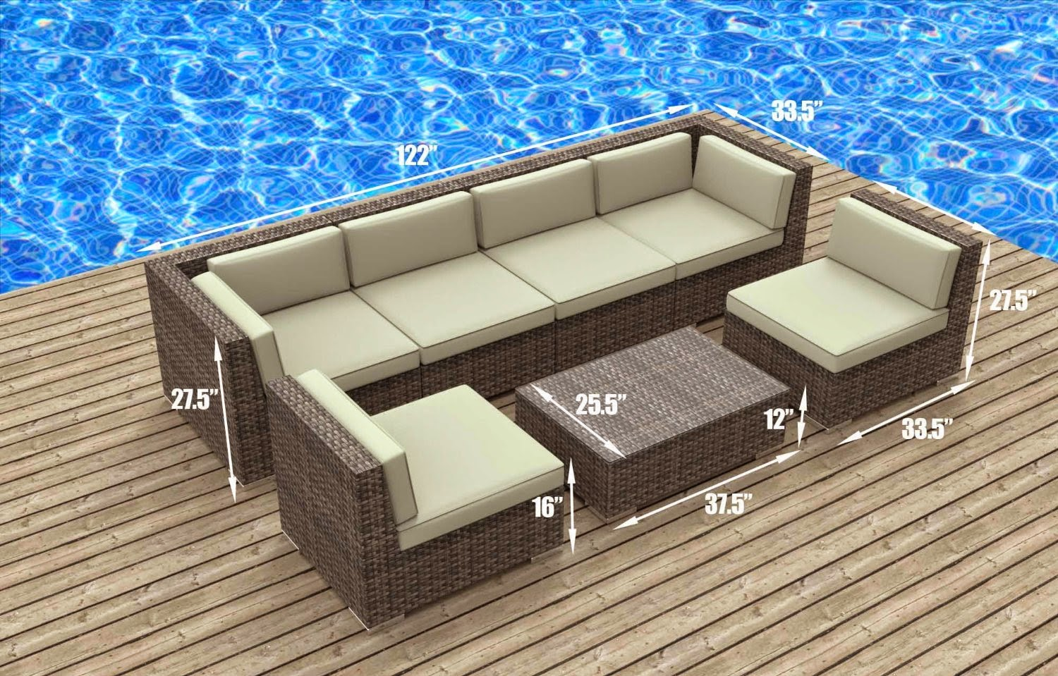 Urban furnishing modern outdoor backyard wicker rattan for Outdoor sectional sofa dimensions
