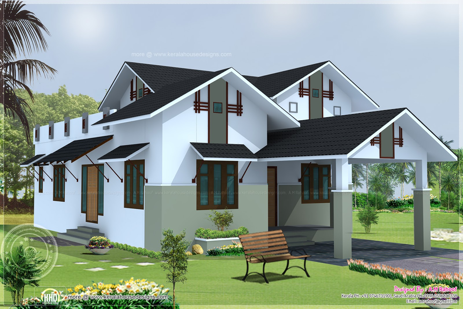 Sloping roof single floor house home kerala plans for 1400 sq ft house