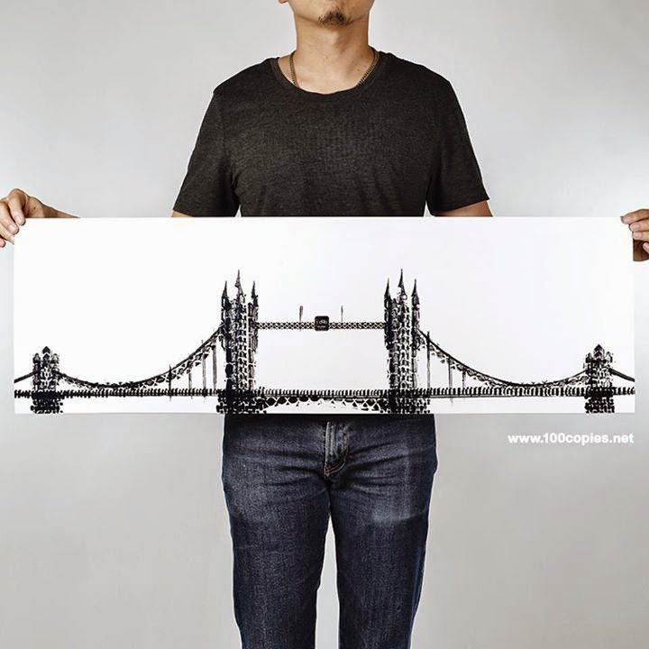 05-Tower-Bridge-London-UK-Thomas-Yang-Art-From-Bicycle-Drawings-in-100copies--www-designstack-co