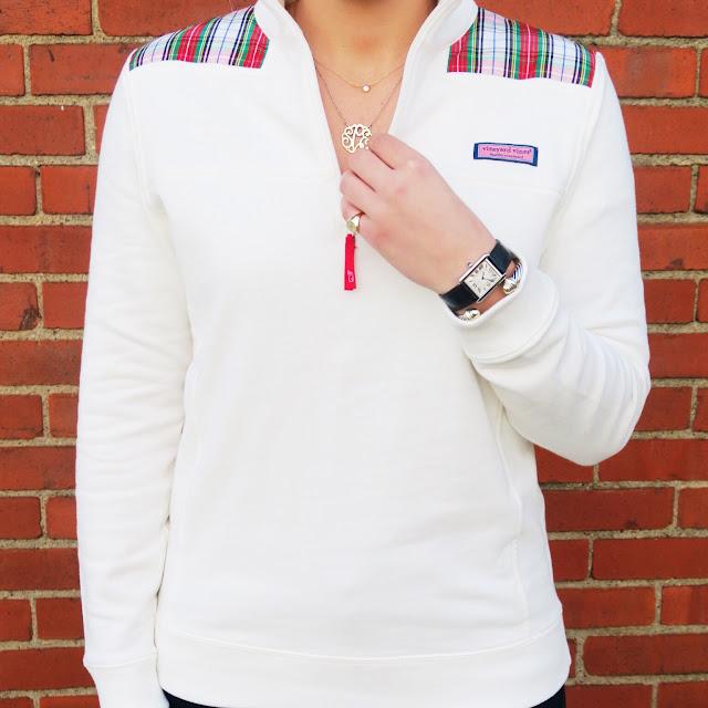 Vineyard Vines Tartan Shep Shirt and Bauble Bar Monogram Necklace