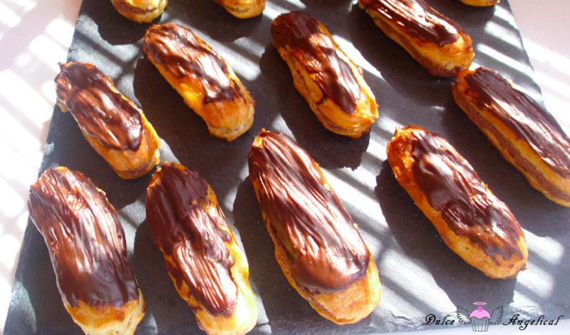 Eclairs de chocolate y trufa caseros
