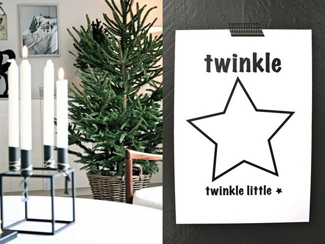 Inspiration Noël: n&b et un peu de vert