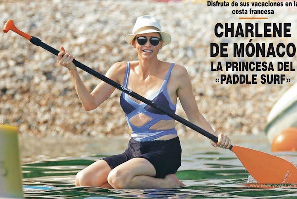 Princess Charlene of Monaco on surf at the French coast a few days ago