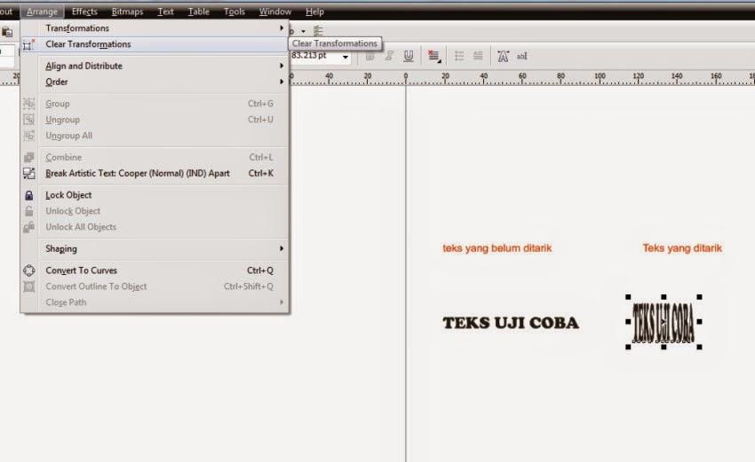 Cara Mengembalikan Teks Objek yang telah ditarik ke Bentuk Proporsionalnya pada Corel Draw