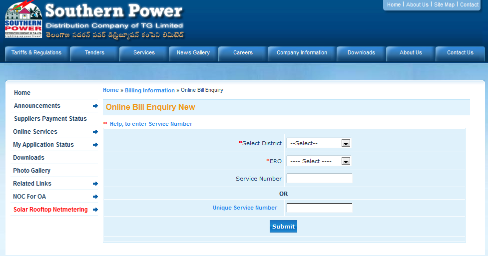 Tg Southern Power Electricity Bill Payment Online