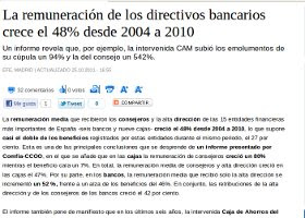 La remuneracin de los directivos bancarios crece el 48% desde 2004 a 2010.