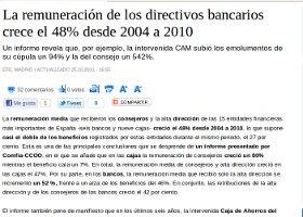 La remuneración de los directivos bancarios crece el 48% desde 2004 a 2010.