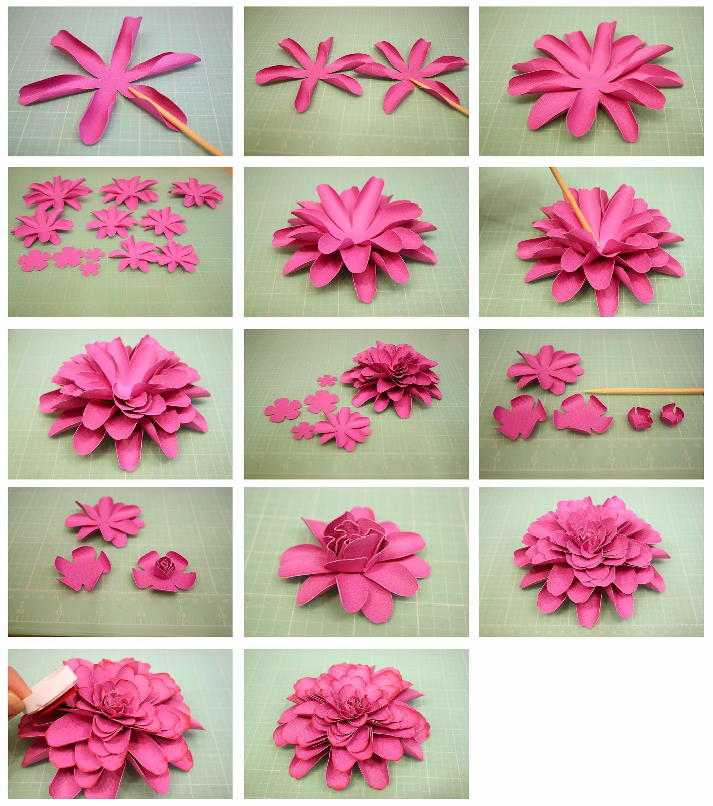 Bits of paper 3d dahlia another mum paper flower cut out all the pieces then use your skewer or pencil to shape the petals by placing it in the center of the petal and pushing the sides up mightylinksfo