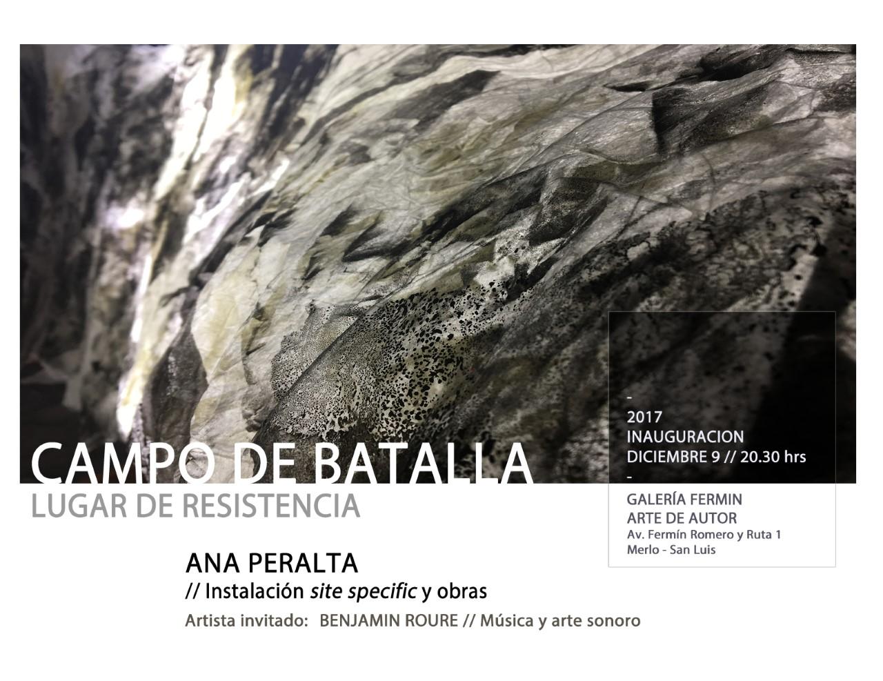 """CAMPO DE BATALLA -  LUGAR DE RESISTENCIA"" de ANA PERALTA"