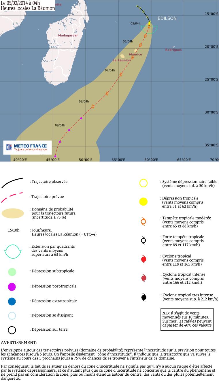 Trajectoire tempête tropicale modérée Edilson