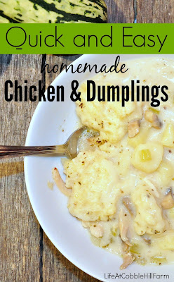 chicken & dumplings that are quick, easy, and made in one-pot!