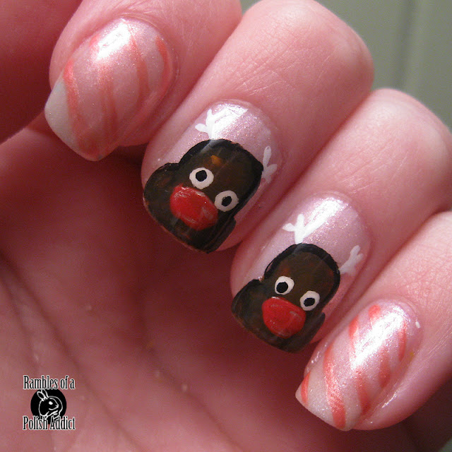 reindeer nail art christmas rudolph red nose