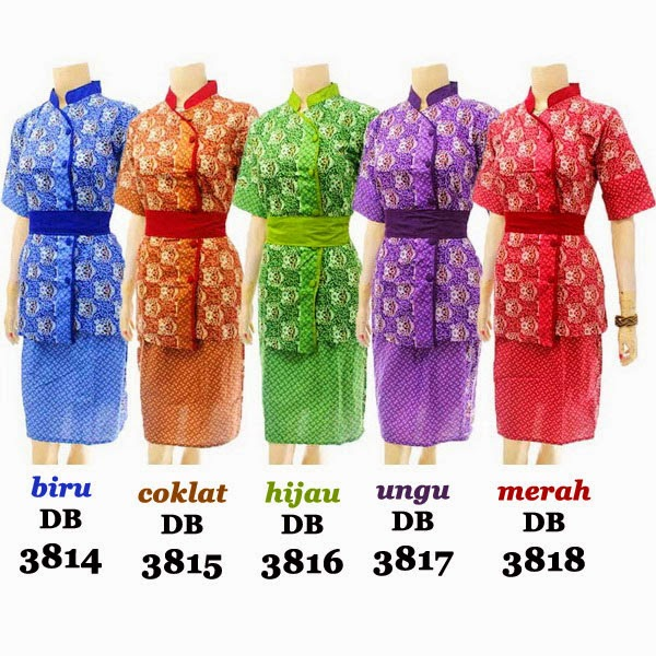 DB3814-3818 Model Baju Dress Batik Modern Terbaru 2014