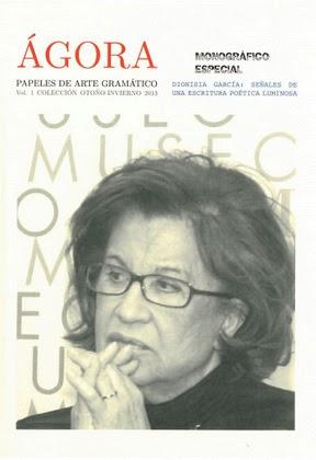 volumen 1 de ÁGORA MONOGRÁFICO ESPECIAL DEDICADO A DIONISIA GARCÍA.