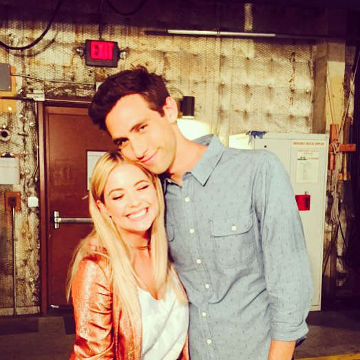 Ashley Benson and Blake Berris on PLL Set