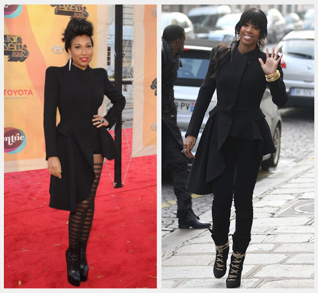 1x1.trans Who wore it better: Melanie Fiona and Kelly Rowland In Alexander McQueen Asymmetric Coat