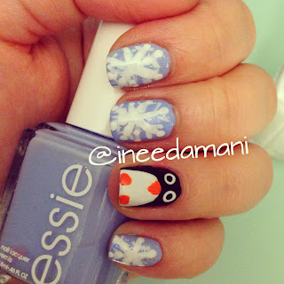 winter holiday snowflakes cute penguin nails