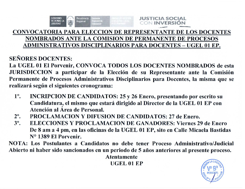 Ugel 01 el porvenir convocatoria para eleccion de for Convocatoria para las plazas docentes 2016