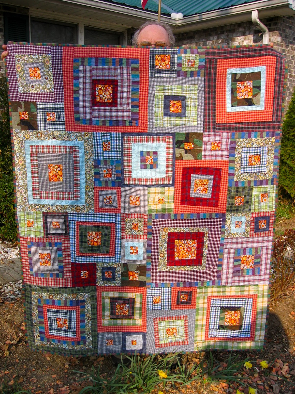 Marvelous photograph of La Todera: Uncle Jeff Jeff and Memory Quilts with #AE461D color and 1200x1600 pixels