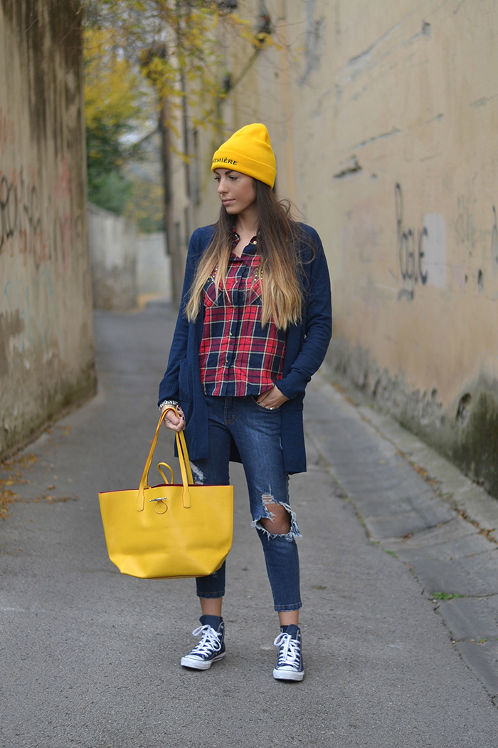 jeans camicia quadri