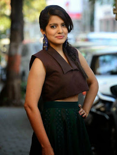 Vishakha Singh HQ Pics in Brown Top and Dirty Green Skirt