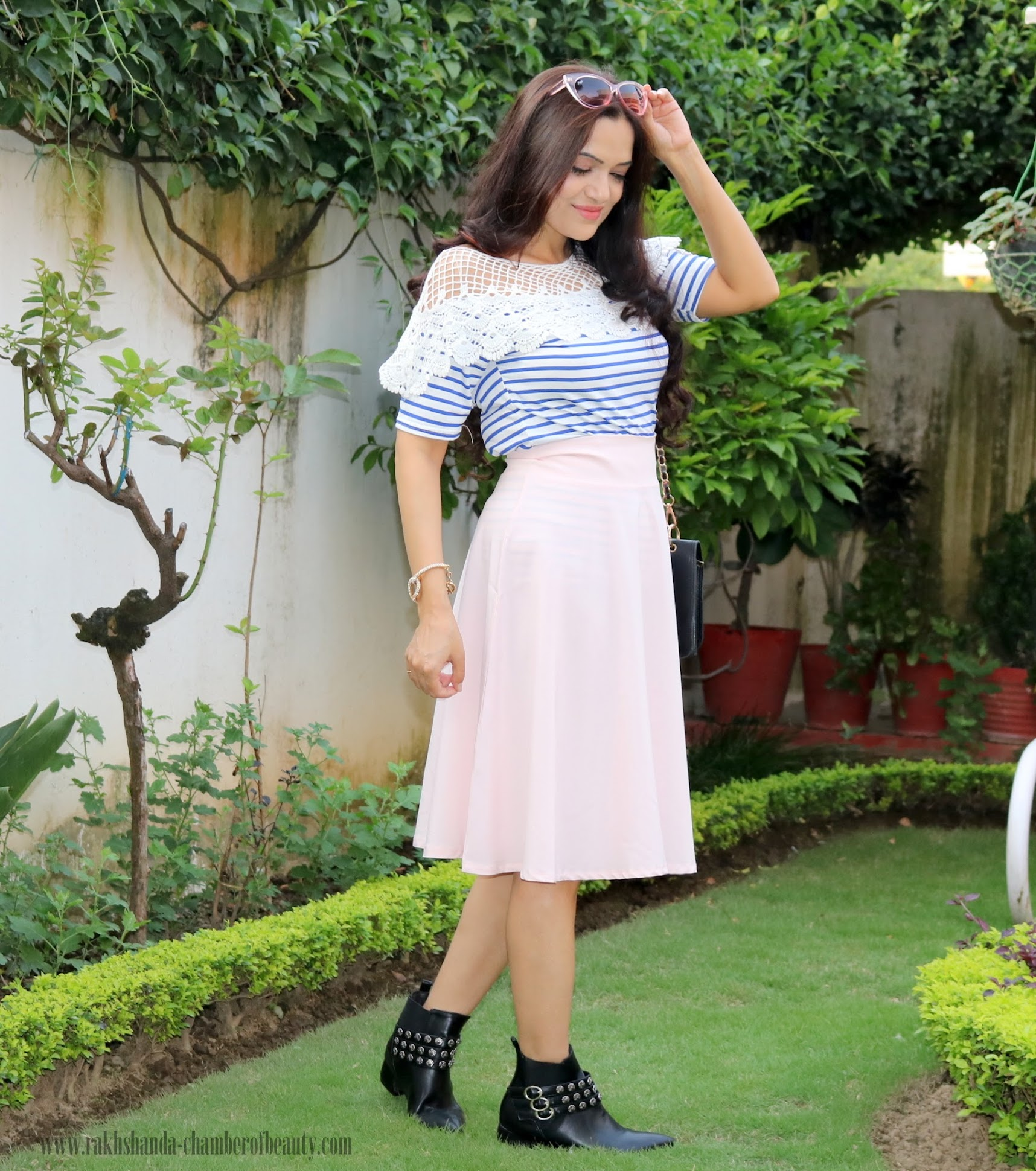 Pink Midi skirt & Striped blouse(fairly nautical) | Fall fashion trends, lovelywholesale.com, How to wear midi skirts, Indian fashion blogger, Chamber of Beauty